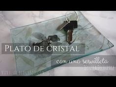 Decorar un plato de cristal con una servilleta (técnica decoupage) - YouTube