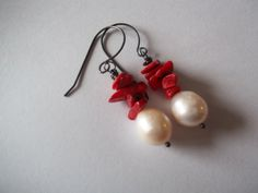 Freshwater Pearl Red Coral by georgieandjetdesigns on Etsy