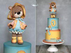 Teddy bear - cake by Lorna Fondant Cookies, Cupcakes, Cupcake Cakes, Fondant Teddy Bear, Teddy Bear Cakes, Beautiful Cakes, Pretty Cakes, Amazing Cakes, Pig Birthday Cakes