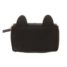 Black Faux Leather Quilted with Cat Ears Zip Around Wallet 6ceeac1dcbf03