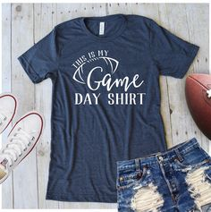Football Season is upon us and that means Sunday parties and tailgating! Grab one of these super cute tees to show your football spirit! Screen Printed on very soft Bella+Canvas Tees Please keep in mind that these are a unisex fit (refer to size chart) Cute Football Outfit, Football Outfits, Football Tshirt Designs, Custom Football Shirts, Custom Shirts, Game Day Shirts, Mom Shirts, T Shirts For Women, Cute Cheer Shirts