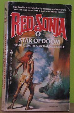 Boris Vallejo, Red Sonja Star of Doom by David C. Smith & Richard L. Tierney, 1983 (painted in Fantasy Book Covers, Book Cover Art, Fantasy Books, Fantasy Art, Boris Vallejo, Science Fiction Art, Pulp Fiction, Caricature, Doom Cover