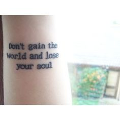 Don't gain the world....