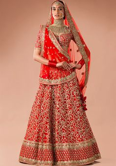 Red aari and zardozi lehenga with all over floral design by Sabyasachi Indian Bridal Lehenga, Pakistani Bridal Dresses, Indian Bridal Wear, Indian Wedding Outfits, Bridal Outfits, Indian Dresses, Indian Outfits, Indian Wear, Bridal Lenghas
