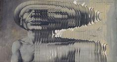 Rudolf Hausner (1914-1995), 'Ein Hauch des Schicksals', 1975,  Papiercollage mit Gouache Rudolf Hausner, Gouache, Collage, Portrait, Modern Art, Weird, Illustration, Fine Art, Artwork