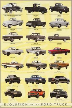 A great poster showing the evolution of the Ford F-Series Pick-up Truck from 1925 to 2013! One of the all-time best-selling vehicles. Fully licensed. Ships fast. 24x36 inches. Need Poster Mounts..? nm