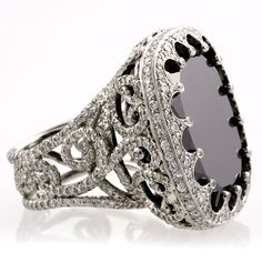 Amazing black diamond cocktail ring.