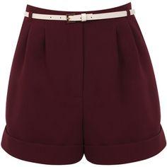 Miss Selfridge Turn Up Hem Short ($26) ❤ liked on Polyvore featuring shorts, bottoms, miss selfridge, pants, burgundy, burgundy shorts and short shorts