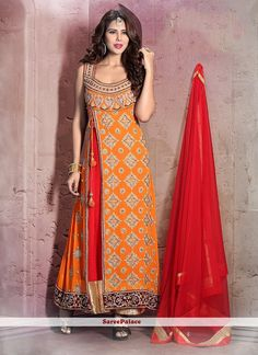 Miraculous Orange Anarkali Salwar Kameez