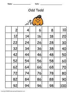 Counting by odds numbers chart 1-100. Help Odd Todd by filling in all the missing odd numbers!