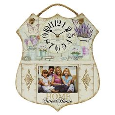 Wooden wall clock with photo frame with rope, in pink-purple color and in size: cm Wall Clock Photo Frame, Wall Clock Painting, Wall Clocks, Metal Birds, Wooden Walls, Pink Purple, Retro, Antiques, Holiday Decor