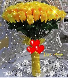 Yellow Roses Beautiful Bouquet Of Flowers, All Flowers, Pretty Flowers, Valentine Wishes, Valentine Images, I Love You Baby, Love You Gif, Beautiful Gif, Beautiful Roses