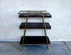 Vintage Three Shelf Cocktail Cart / Retro Metal Bar Cart by MidMod
