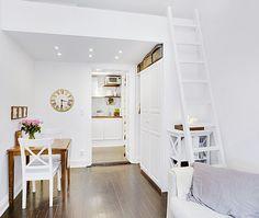 amenajari, interioare, decoratiuni, decor, design interior, garsoniera, alb, pat suspendat,
