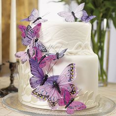 radiant orchid butterfly #wedding cake toppers / cake decor