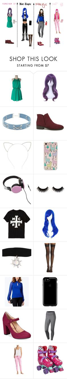 """""""Top 4 girls that go to the mall"""" by trinity-cardoza ❤ liked on Polyvore featuring Forever 21, Hot Topic, INC International Concepts, Speck, American Rag Cie, NIKE, Hello Kitty and ban.do"""