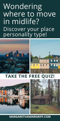 Thinking about moving someplace new in midlife? Discover your place personality type and find out if you'll be happiest living in the city, suburbs, small town or countryside. Click through to take the free quiz today! Best Places To Move, World Quiz, New Adventures, Personality Types, Change The World, Small Towns, Are You Happy, Countryside, Something To Do