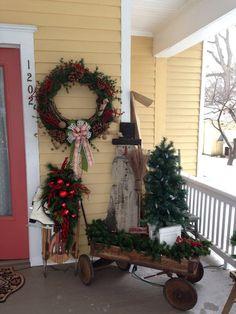 primitive porches | My primitive Christmas porch decor. The wreath is my favorite part.