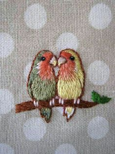 Ideas Love Bird Embroidery Stitching For 2019 Crewel Embroidery Kits, Hand Embroidery Patterns, Ribbon Embroidery, Cross Stitch Embroidery, Machine Embroidery, Embroidery Supplies, Embroidered Bird, Embroidery Techniques, Needlework