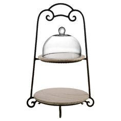 Enjoy this tiered server from American Atelier, Mendocino Marble Collection. It includes two round cream colored marble platters, a glass dome, and a brown metal stand. Rustic Tabletop, Tiered Server, Marble Plates, Plate Stands, Boutique, Glass Domes, Joss And Main, Serveware, Serving Dishes