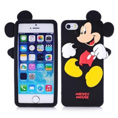3D cute cartoon Micky Mouse silicone case for iPhone 5 / 5s ( Black )