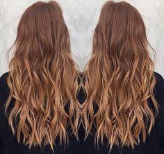 Brown blonde balayage caramel honey tones wavy long beach waves curls warm