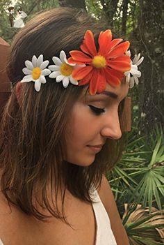 Daisy Summer Music Festival Headband, Boho headband, Flower Crown, Hippie, Festival hair decoration, stretchy hair bands, Daisy Crown - Bridal hair accessories (*Amazon Partner-Link)