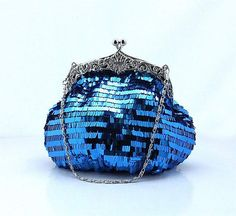 Blue Sparkle Beaded Wedding Purse Evening Clutch by AmericanCherry, $53.50