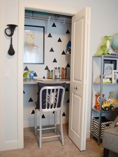 toddler closet loft space transformed to a desk space.