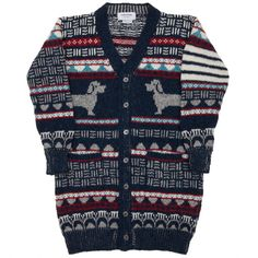 Thom Browne - Multi-colored print mohair blend knitted cardigan with a v-neck. - Storm Copenhagen