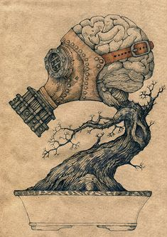 I like this illustration because off the brain and the tree.I real like the gas mask because it looks real old fashion. Art Bizarre, Creepy Art, Weird Art, Inspiration Art, Art Inspo, Tattoo Inspiration, Arte Horror, Art Plastique, Dark Art