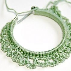 Take old hoop earrings and give them a new life by crocheting around them with crochet thread and a steel hook.