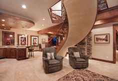 This recliners are a terrific fit to this remodeled basement, but not sure how we feel about the location directly under the staircase. Speaking of stairs, have you ever seen a design like that? House Design, Home, Basement Decor, Remodel, Man Cave Homes, Home Remodeling, Picture Design, Remodeling Projects, Basement Design