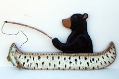 Fishing Bear Sign by JimHarmonDesigns on Etsy