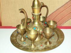 Vintage Rare Brass and Gem India Tea Set - SURAHI