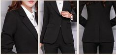 Women's Pant and Blazer Suit Simple Long Slim for Business – omymarts Business Attire, Business Women, Blazer Suit, Suit Jacket, Pantsuits For Women, Office Ladies, Work Wear, Pants For Women, Pant Suits