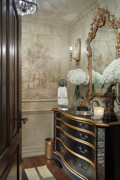 Beautiful metallic accents and grisaille mural inspiration | Joy Tribout Interior Design