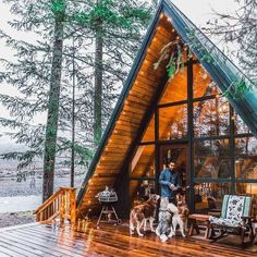 That Cabin Life Aesthetic - architecture house A Frame Cabin, A Frame House, Cabin Homes, Log Homes, Cabins And Cottages, Log Cabins, Decks And Porches, Cozy Cabin, Winter Cabin