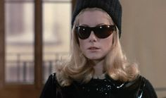 Catherine Deneuve in Belle de Jour. love the sunglasses, the pill box hat and the hair..
