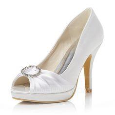 [US$ 62.99] Women's Satin Stiletto Heel Peep Toe Pumps With Rhinestone (047048004)