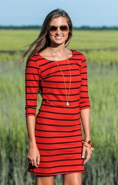 73918587835 We are loving this Karlie striped dress! A cute summer cut with a print for  Fall