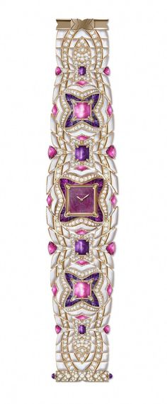 2195fc7c556a Bulgari Mvsa high jewellery watch in rose gold features a ruby heart dial  and a fabulous bracelet set with mother-of-pearl