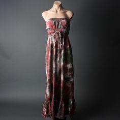 Red Gray Tie Dye Tube Braided Tube Strapless Bohemian Maxi Stretch Dress