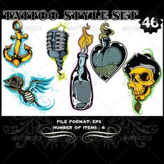 Tattoo Style Vector Set 46