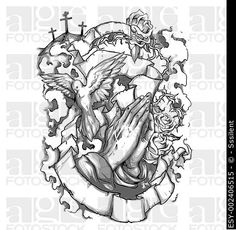 Vector Christian tattoo sleeve illustration containing religious elements like dove, praying hands, clouds, the Golgota mountain, crosses and a ribbon...