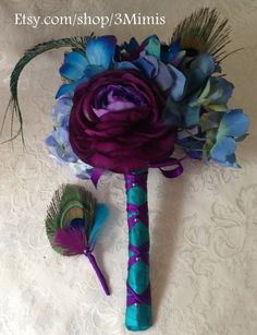 Peacock+Feather++Wedding+Bouquet+Blue+Dendrobium+Orchid+by+3Mimis,+$115.00