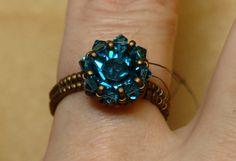 Sidonia's handmade jewelry - Swarovski Solitaire beaded ring