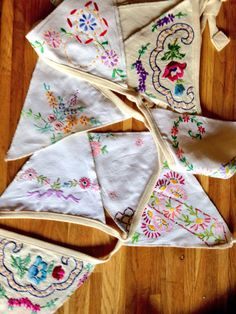 Hand embroidered bunting for my Garden wedding
