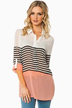 ShopSosie Style : Russe Striped Blouse in Peach