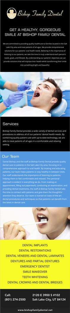 At Bishop Family Dental (http://www.bishopfamilydental.net), we are dedicated to putting our patients first and are committed to providing those patients with the best professional dental care. We know how important it is to create a personal relationship with your dentist, so we put a high priority on communication with our patients. Dr. Bishop and team are dedicated to educating everyone who schedules an appointment in preventative care so that they can stay out of pain and have a…